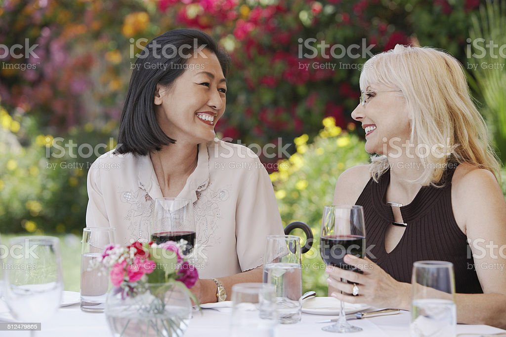 Friends Enjoying a Glass of Wine stock photo