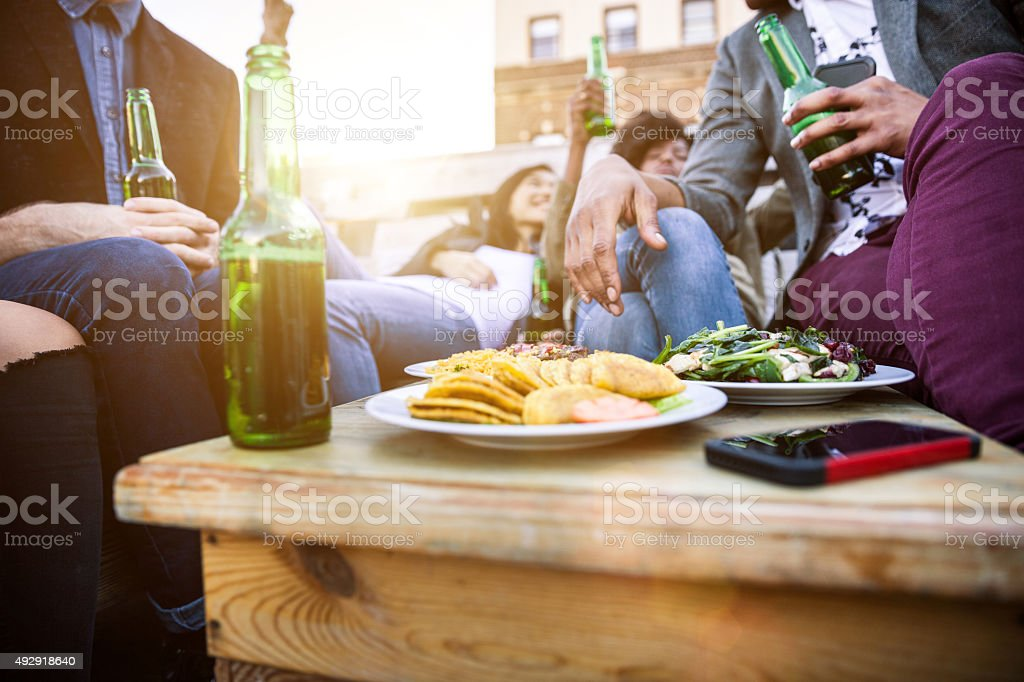 Friends enjoying a party in East Village - New York stock photo