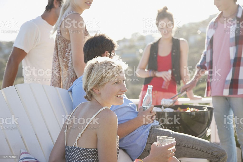 Friends enjoying barbecue royalty-free stock photo