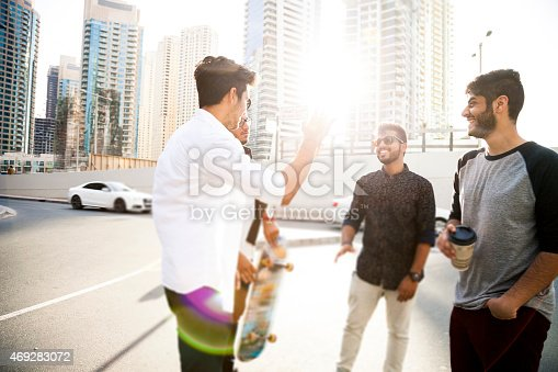 istock Friends enjoying Dubai city life 469283072