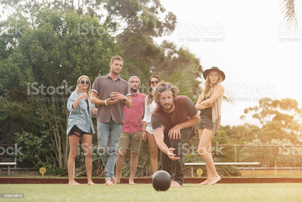 Friends Enjoying Lawn Bowling Game Sydney Australia stock photo
