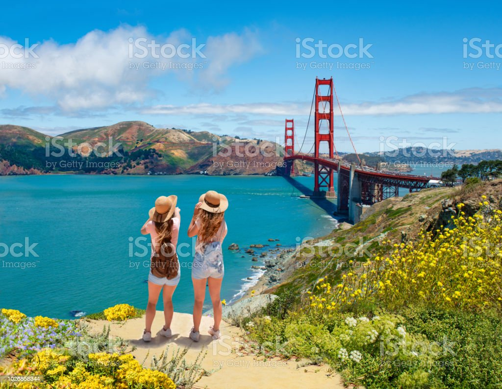 Friends enjoying time together on vacation  trip. stock photo