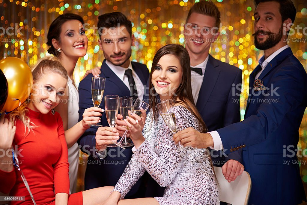 Friends gathered to celebrate a party stock photo