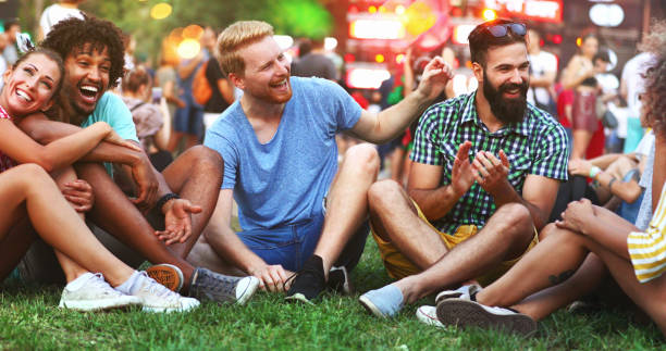 Friends gathering before the concert. stock photo