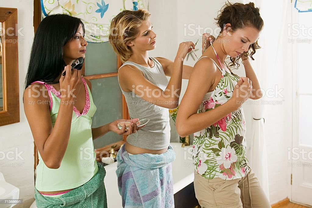 Friends getting ready royalty-free stock photo