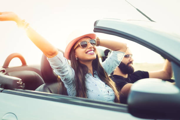 Friends going on road trip stock photo
