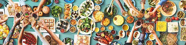 Friends Happiness Enjoying Dinning Eating Concept Friends Happiness Enjoying Dinning Eating Concept buffet stock pictures, royalty-free photos & images