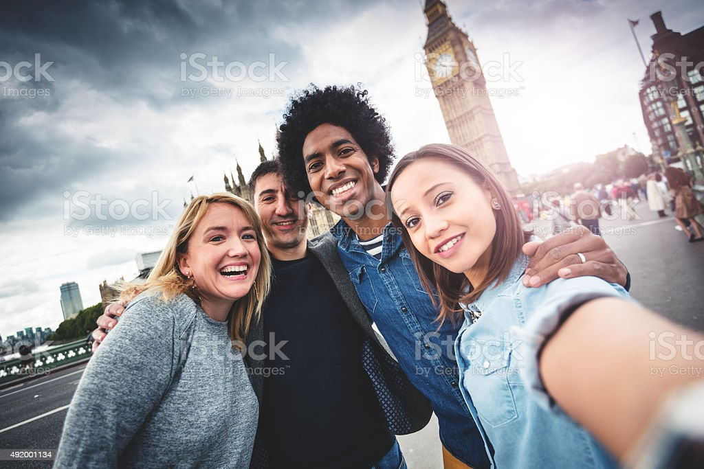 Friends have fun in London stock photo