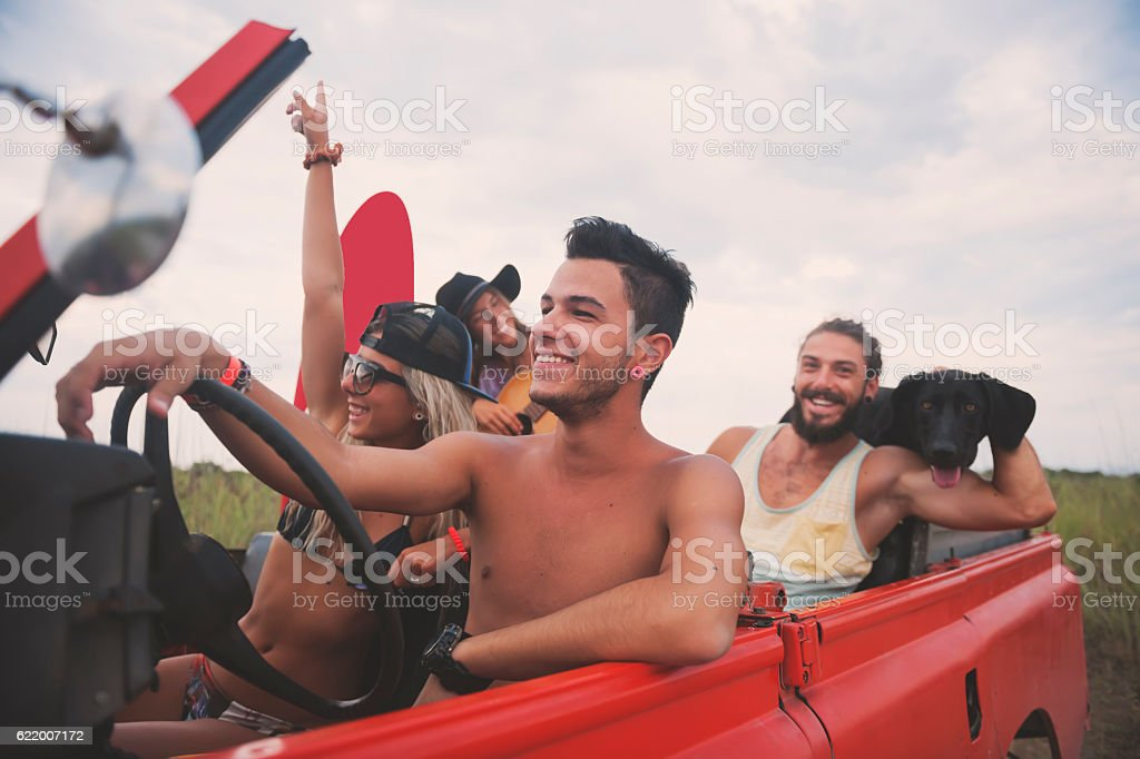 Friends have fun on vacation stock photo