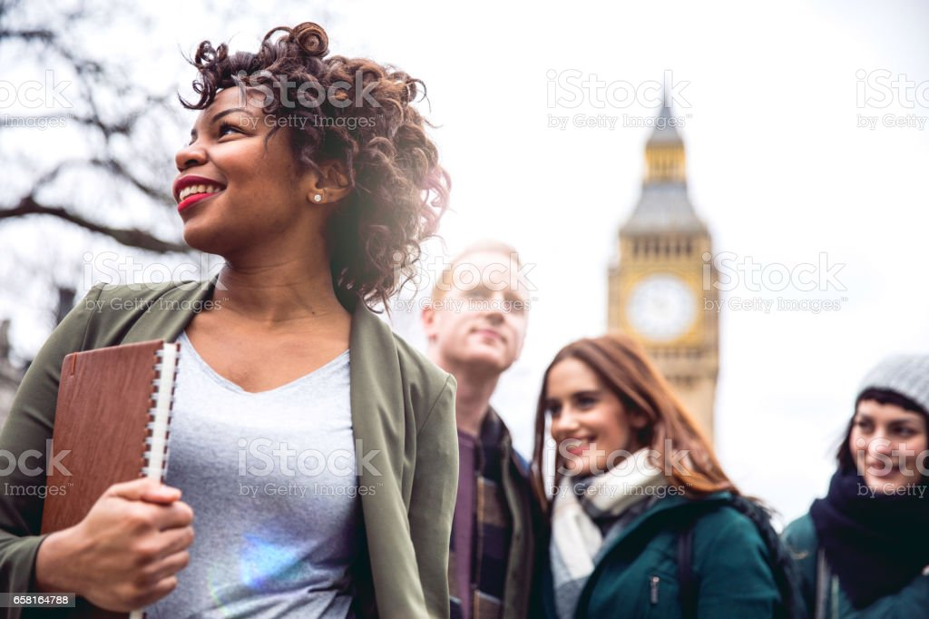 Friends having a blast in London stock photo