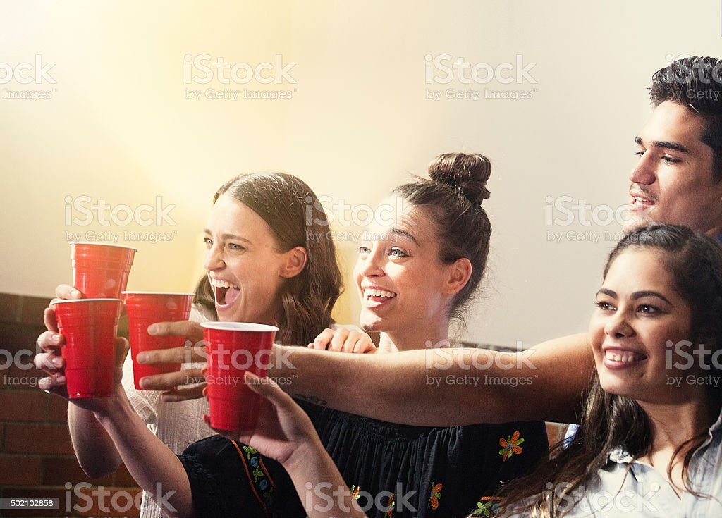 Friends having a party stock photo