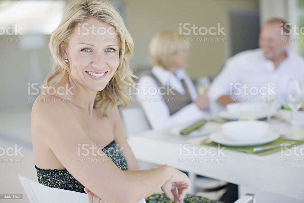 Friends having dinner together royalty-free stock photo