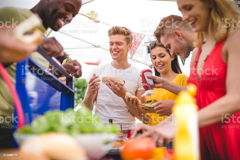 Friends Having Fun at a BBQ stock photo