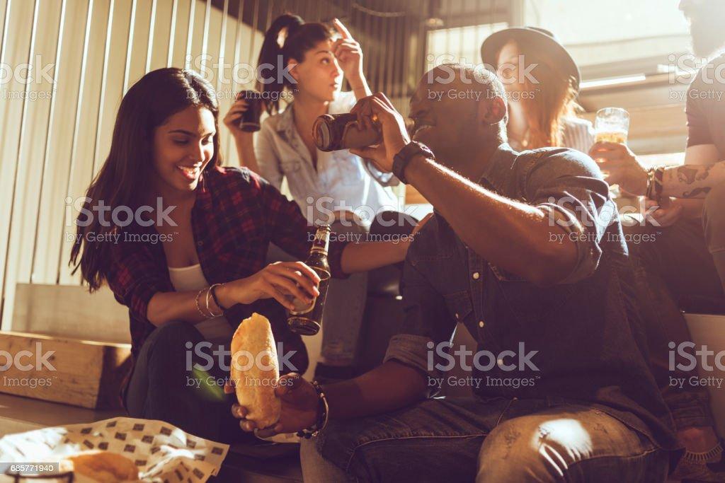 friends having fun in a bar royalty-free stock photo