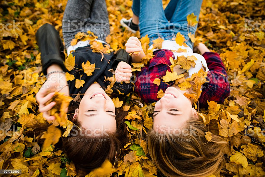Friends having fun in leaves stock photo