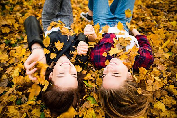 Friends having fun in leaves – Foto