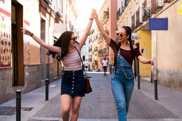 Friends having fun in Madrid stock photo