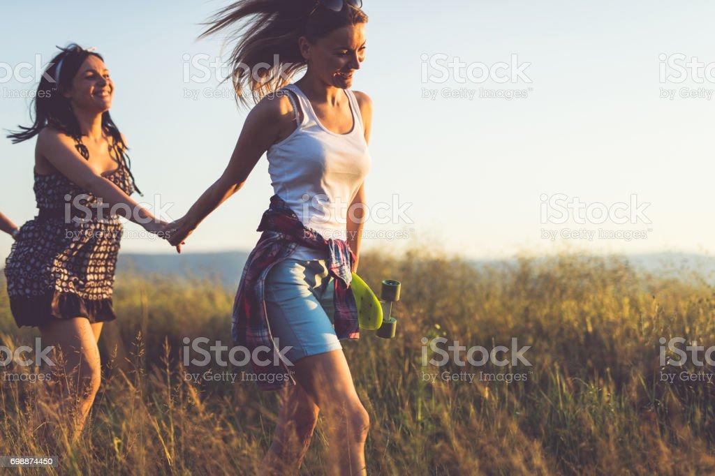 Friends having fun in summer stock photo