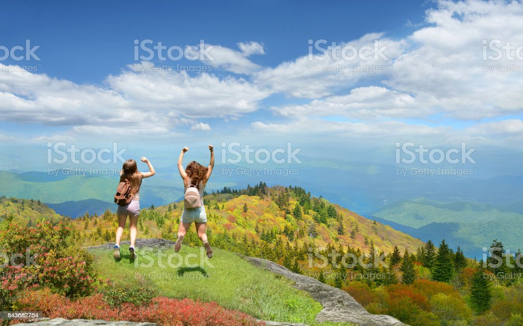Friends having fun on hiking trip in the mountains. stock photo