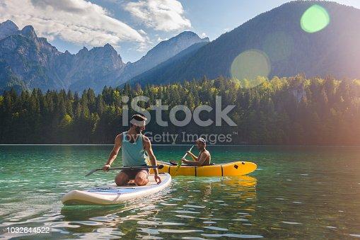 Friends having fun on the lake