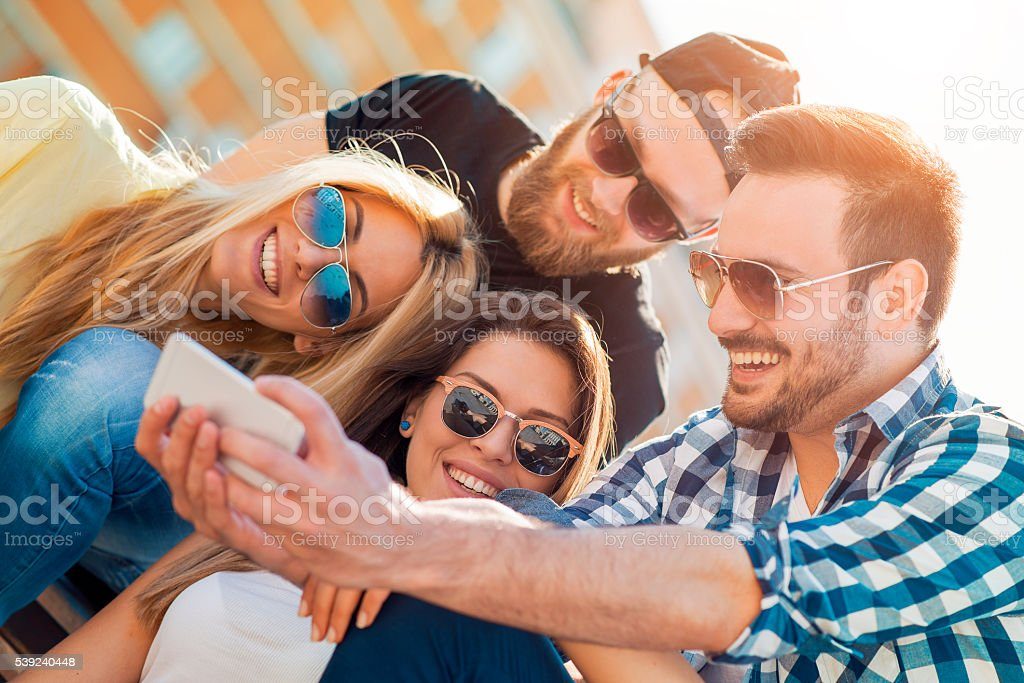 Friends having fun outdoors royalty-free stock photo
