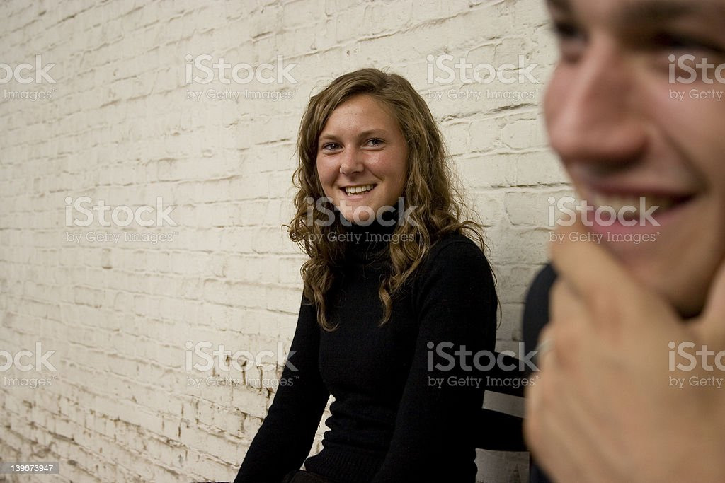 Friends Having Fun While Waiting royalty-free stock photo