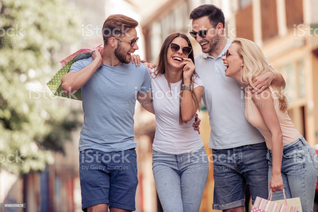 Friends having great time together stock photo