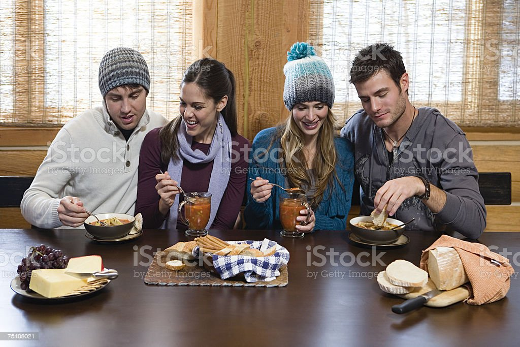 Friends having lunch royalty-free stock photo