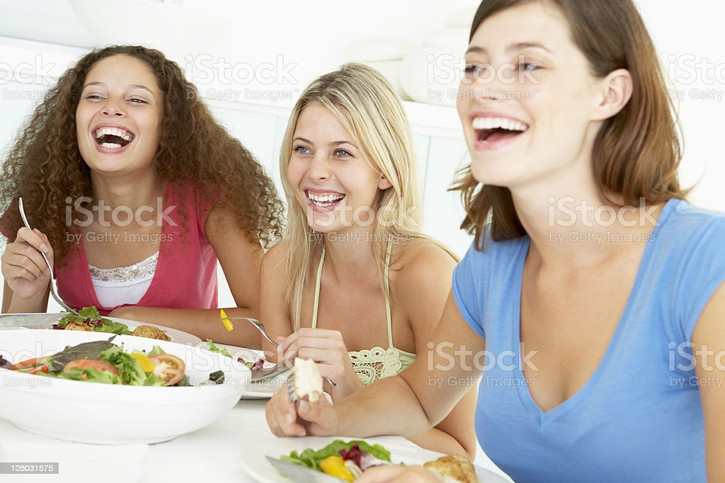 Friends Having Lunch Together At Home royalty-free stock photo