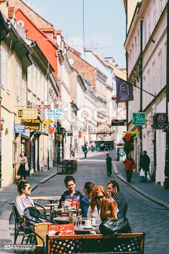 Zagreb, Croatia- May 1st, 2017: A group of friends enjoying their morning coffee together in Zagreb,Croatia.Zagreb is known for its coffee culture.