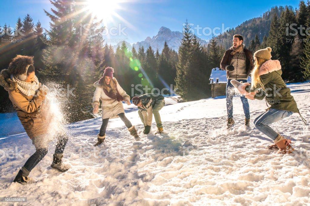 Amis ayant la boule de neige se battre dans la neige par journée ensoleillée - Photo
