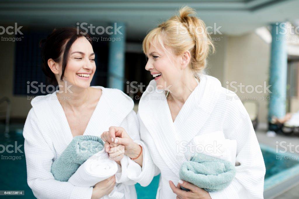 Friends having wellness weekend stock photo