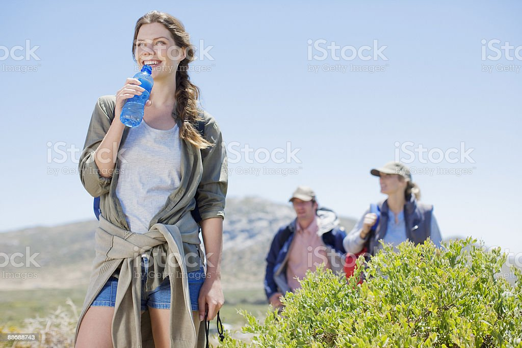 Friends hiking in remote area royalty-free stock photo