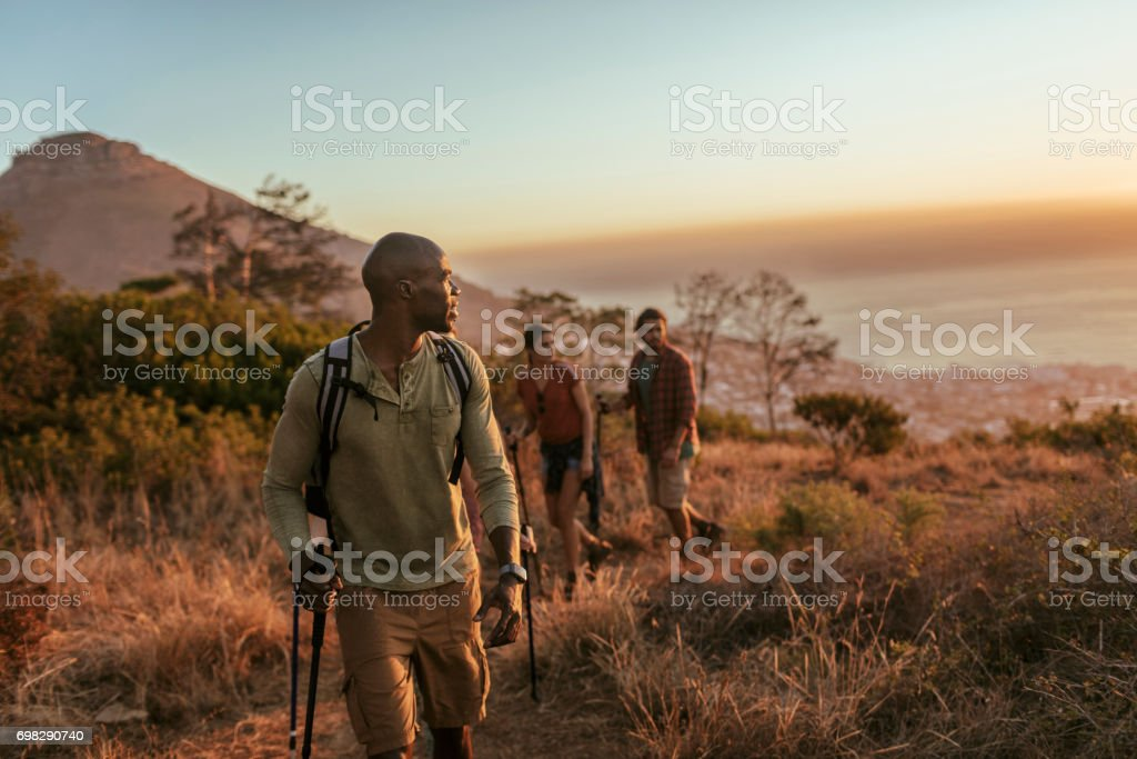 Friends hiking stock photo