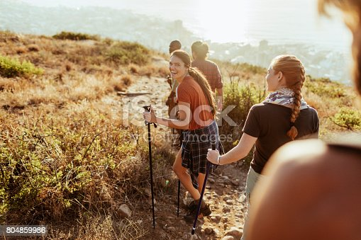 Close up of a group of friends hiking together