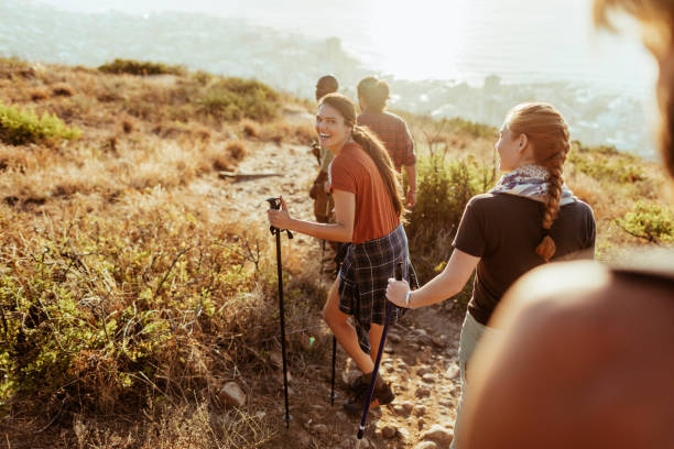 friends hiking - hiking stock photos and pictures