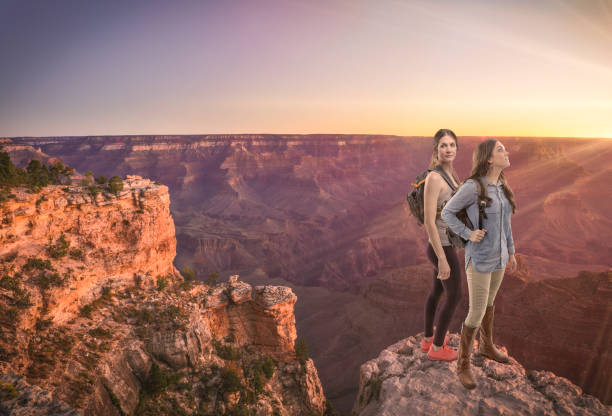 Friends Hiking South Rim Grand Canyon HDR photo stock photo