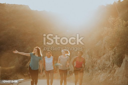 1051098428istockphoto Friends hiking through the hills of Los Angeles 1044818496