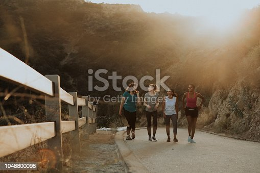 1051098428istockphoto Friends hiking through the hills of Los Angeles 1048800098