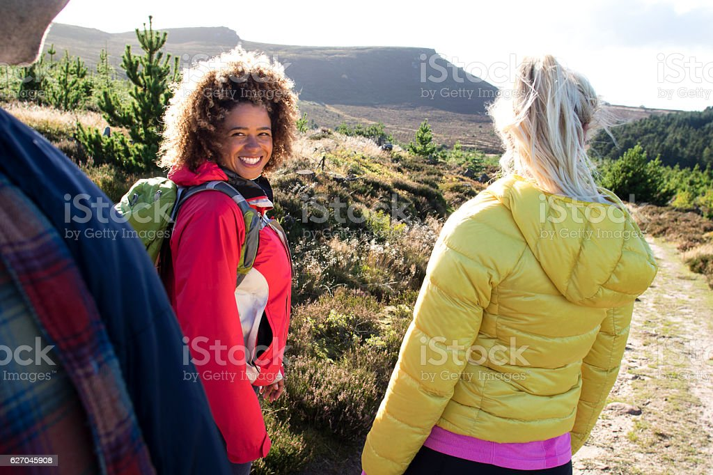 Friends Hiking Together stock photo