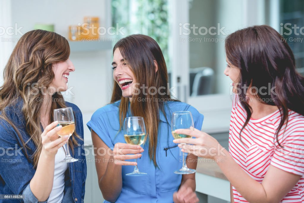 Friends holding glass of wine at home foto stock royalty-free