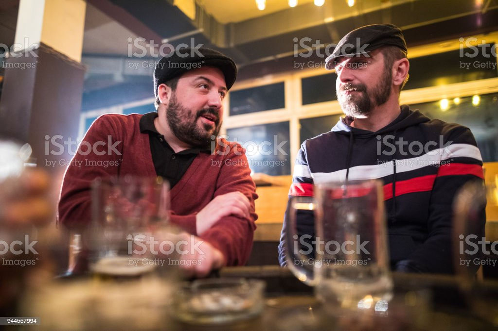 Friends in a bar stock photo