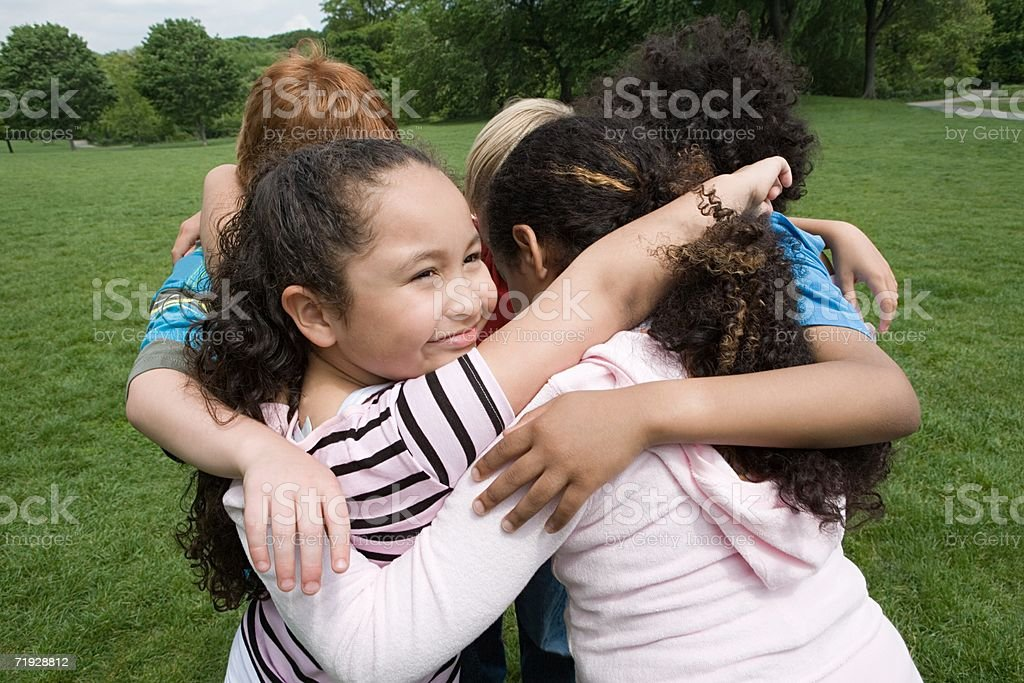 Friends in a huddle royalty-free stock photo