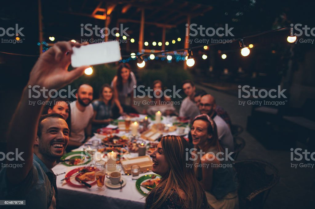 Friends in a local bistro stock photo