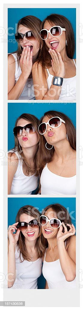 Friends In A Photo Booth stock photo