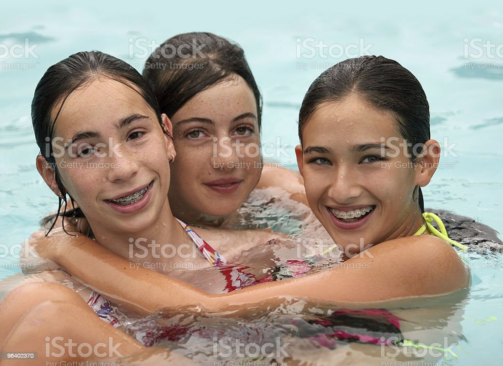 Friends in a pool - Royalty-free Adolescence Stock Photo