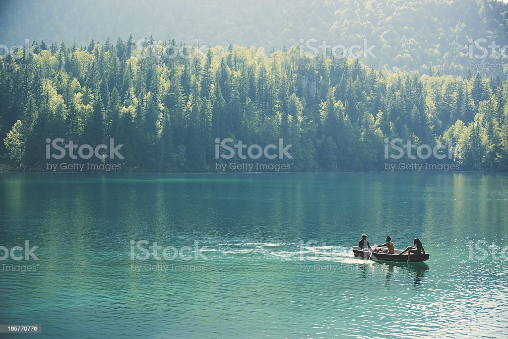 Friends in an Alpine lake stock photo