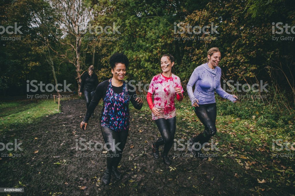 Friends In An Obstacle Course stock photo