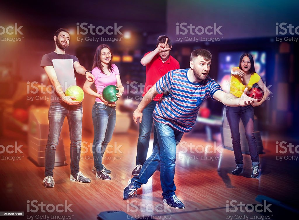 Friends in bowling stock photo