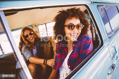 Friends in camper van
